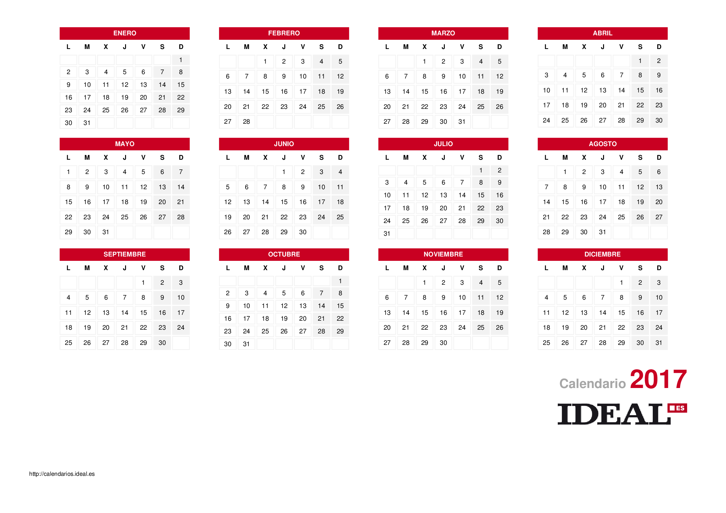 Calendario Laboral Bilbao.Calendario Laboral De 2019 Calendarios Ideal Dias Festivos